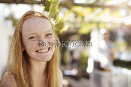 portrait of happy girl with long