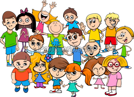 children characters group cartoon illustration