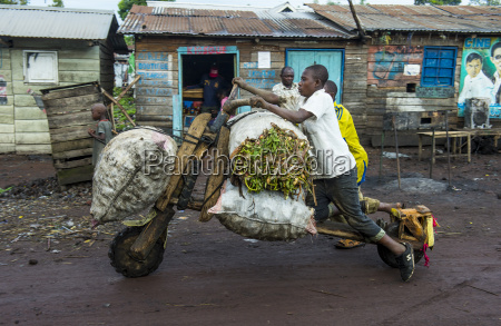local man transporting their goods on