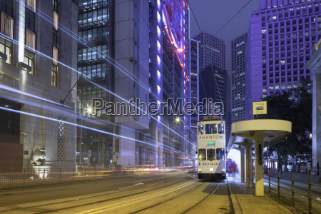 trams passing bank of china building