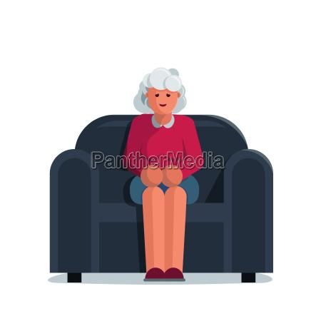 happy elderly woman sitting on a