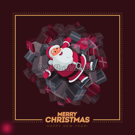 santa claus on gift boxes design