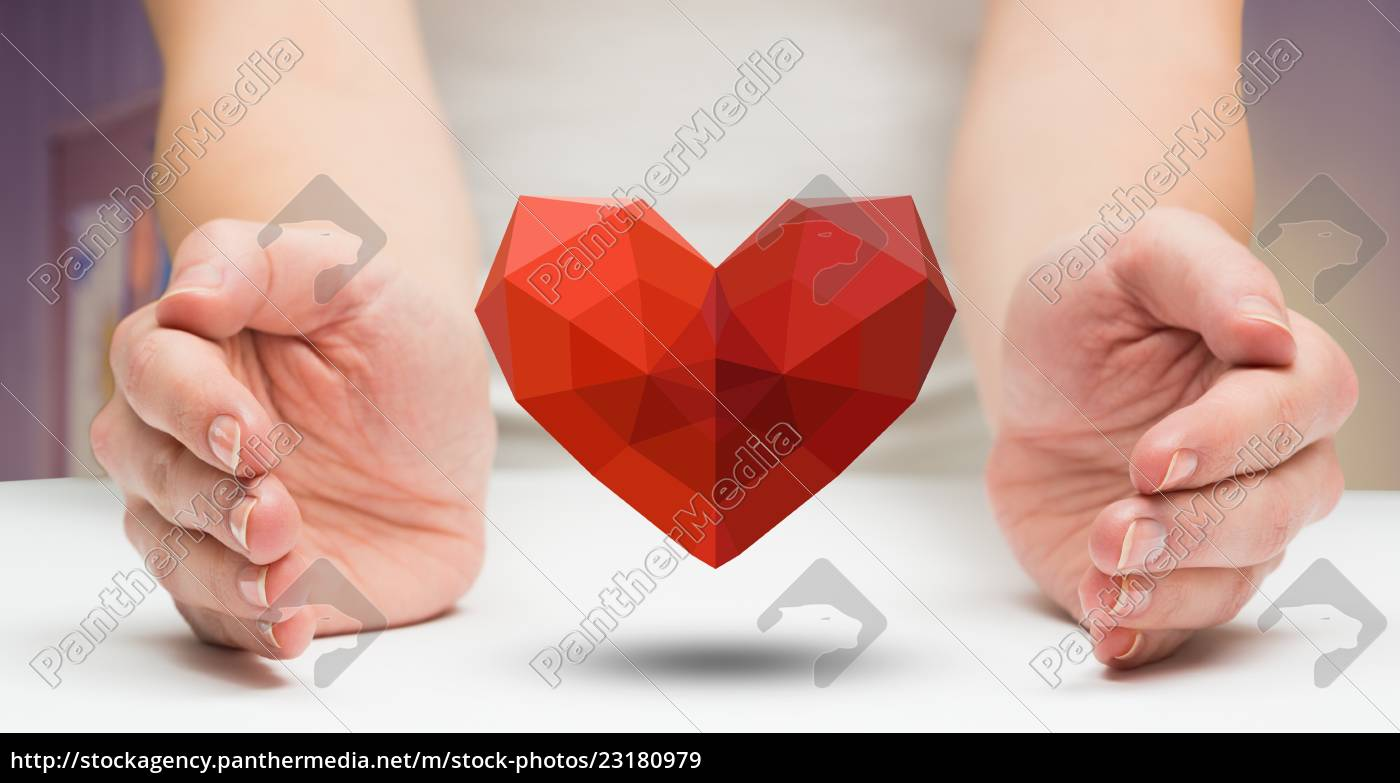 woman, holding, red, heart - 23180979