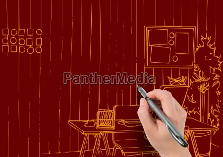 3d Hand Drawing Office Orange Lines On Dark Red Stock Photo