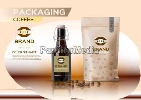 coffee packaging mock up vector realistic