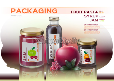fruit pasta jam and syrup bottles
