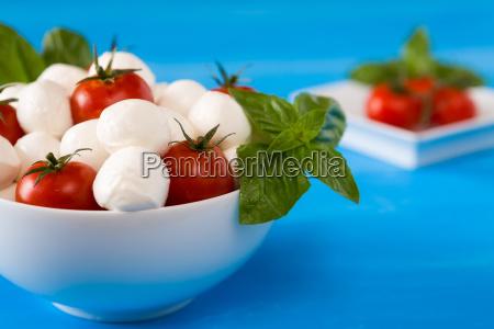 closeup of mozzarella cherry tomatoes and
