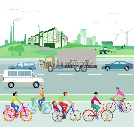 traffic and environment illustration