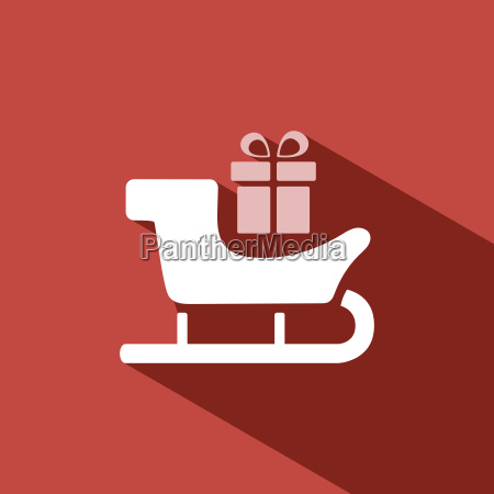 sled icon with gift and shade