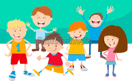 cartoon children comic characters group