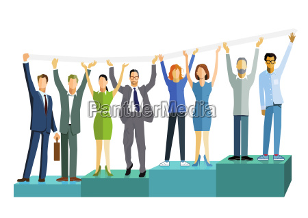business people with successful balance business