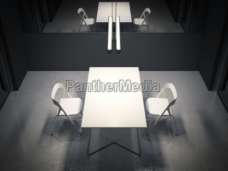 dark room for interrogation with two