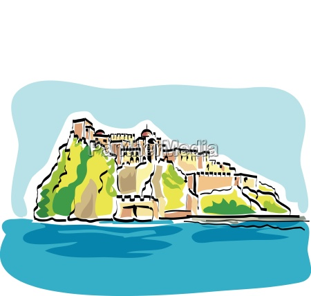 vector illustration of the aragonese castle
