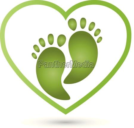 heart and two feetorthopedicsfoot carelogo