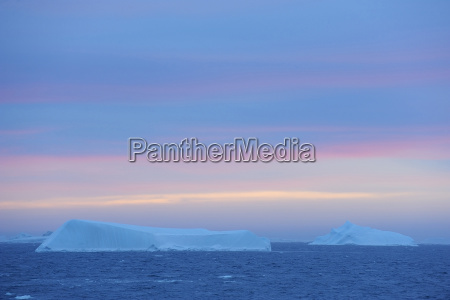 icebergs on the antarctic sound at