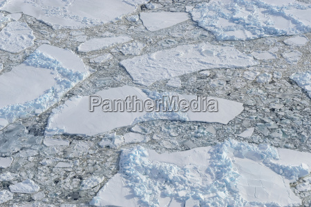 elevated view of broken pack ice