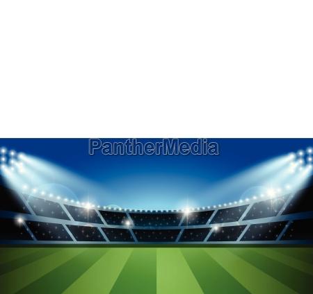 soccer or football stadium with spotlight