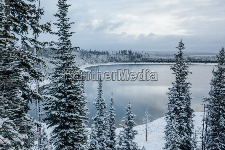 scenic view of lake by frozen