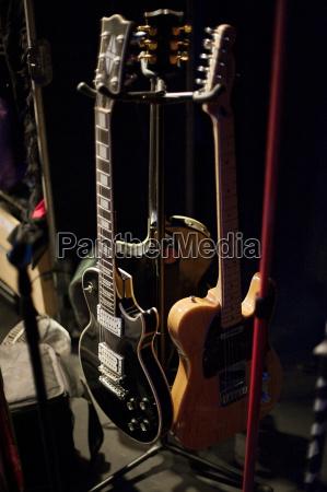 close up of electric guitars