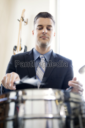 low angle view of man playing