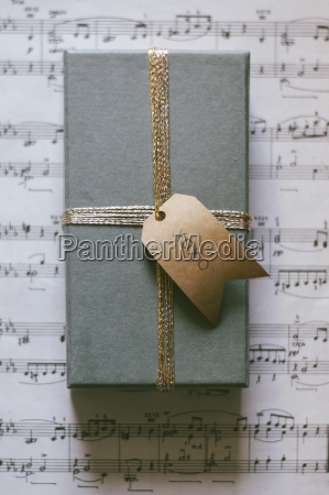 overhead view of gift box on
