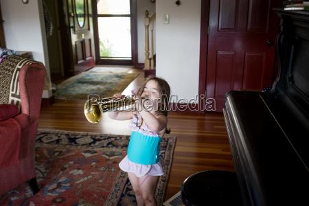 high angle view of girl playing