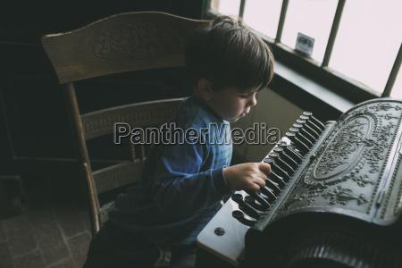 high angle view of boy playing