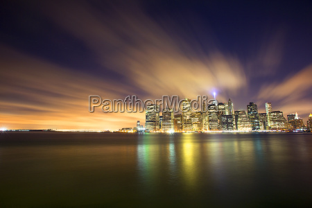 scenic view of illuminated city and