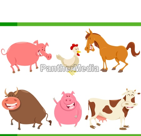 cartoon cute farm animal characters set