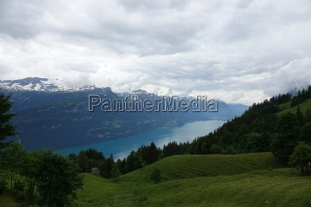 cloudy sky over lake brienz and