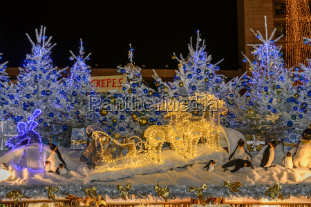 penguins, on, stall, roof, at, xmas - 25844025