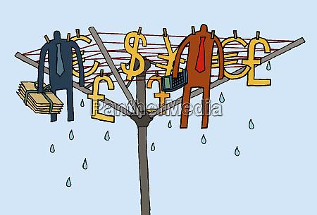 businessmen drying on money clothesline