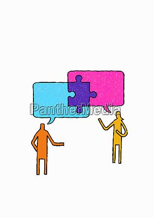 jigsaw piece connecting speech bubbles above
