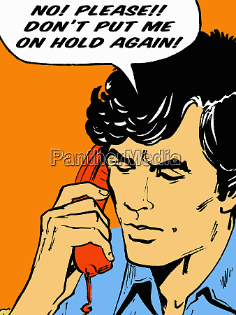 frustrated man on telephone talking in