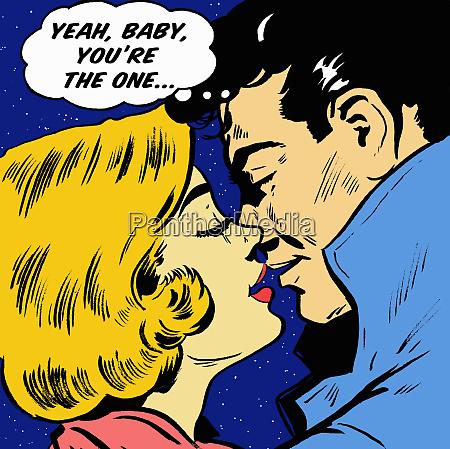 man kissing girlfriend reassuring himself in