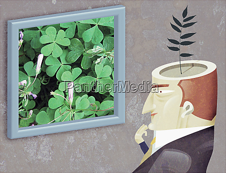 man with plant growing from head