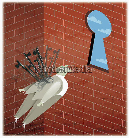 businessman with keys for wings flying