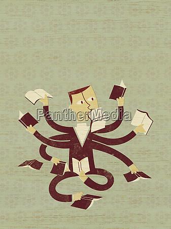 multiple armed businessman reading books