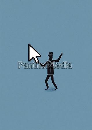 man holding cursor arrow defending cyber