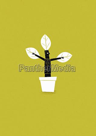 businessman growing in flowerpot