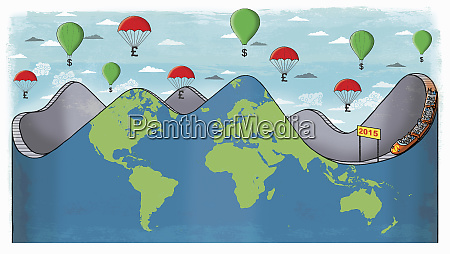 global roller coaster with money balloons