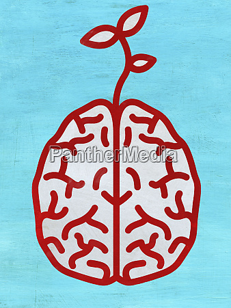 seedling growing out of brain