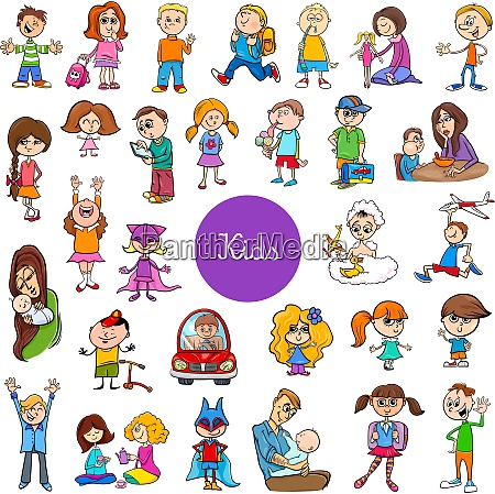 cartoon children characters big set