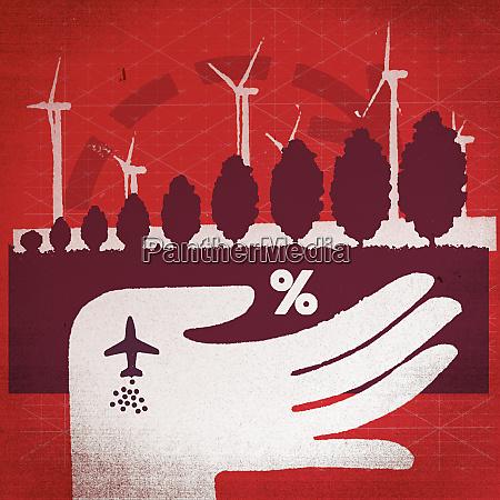 hand holding wind farm