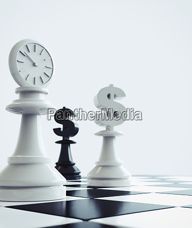 dollar signs and clock on chess