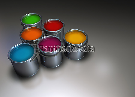 colorful paint in paint cans