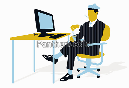 unwell businessman sitting at desk taking