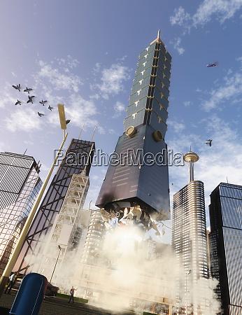 high rise skyscraper rocket blasting off