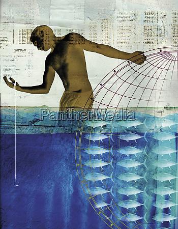 collage of man globe fish fishing