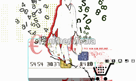 numbers surrounding consumer carrying shopping bags